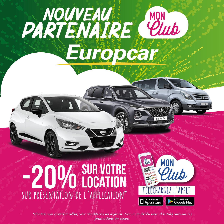 Nouveau partenaire Mon Club : Bienvenue Europcar !